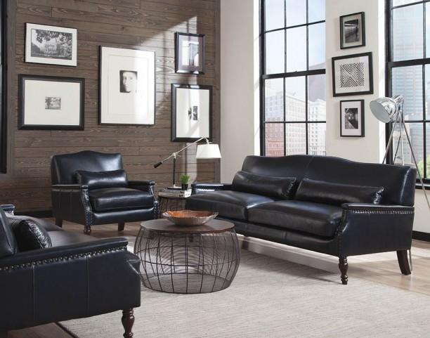 Felipe Regal Blue Leather Living Room Set