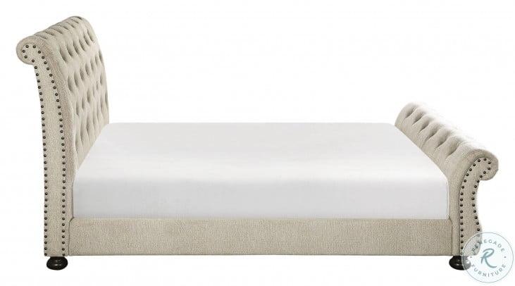 Crofton Beige King Upholstered Panel Bed