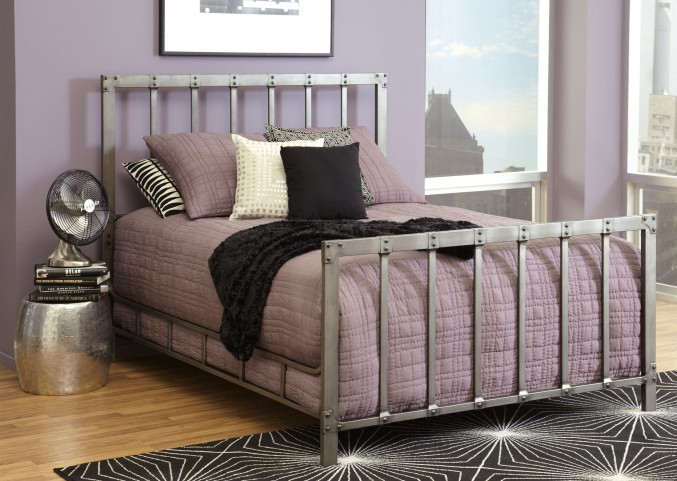 Alcatraz Antique Rubbed Pewter Queen Panel Bed