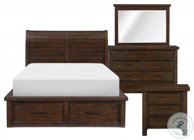 Logandale Brown Queen Storage Platform Bed