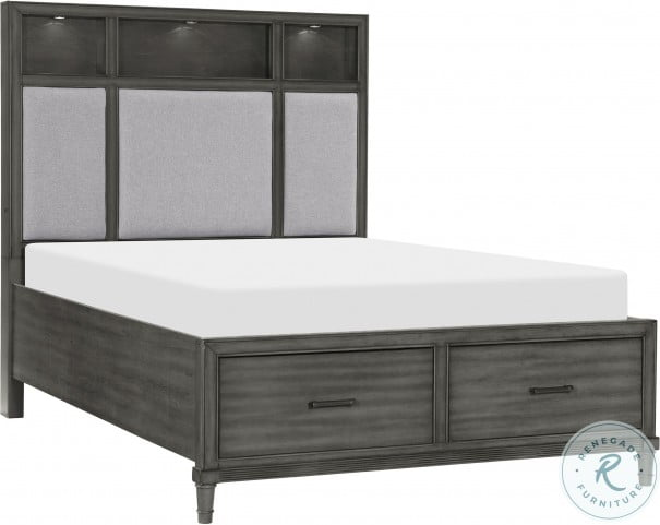 Wittenberry Gray Queen Platform Bed With Footboard Drawer And LED