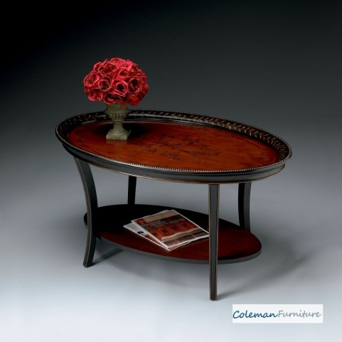Red and Black Oval Cocktail Table