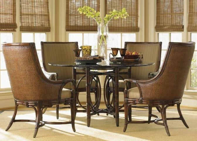 "Landara Coral Sea Rattan 54"" Round Dining Room Set"