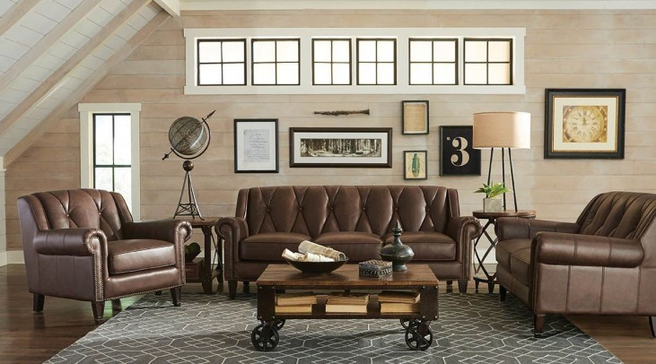 Lucia French Beige Leather Living Room Set