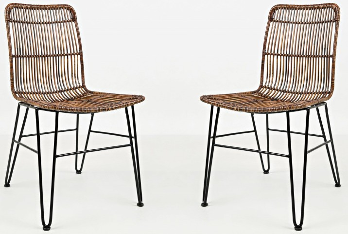 Urban Dweller Wire and Rattan Dining Chair Set of 2
