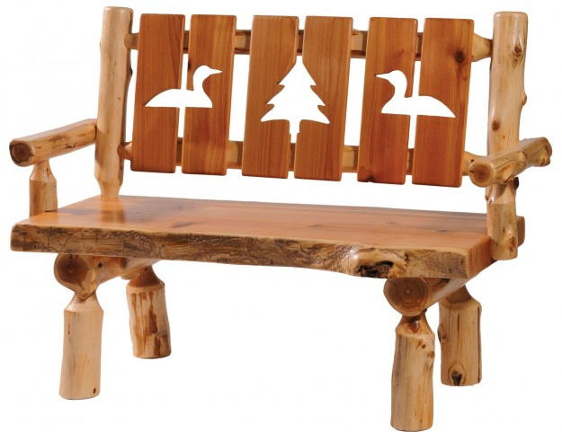 "Cedar 48"" Cut-out Back & Armrests Log Bench"