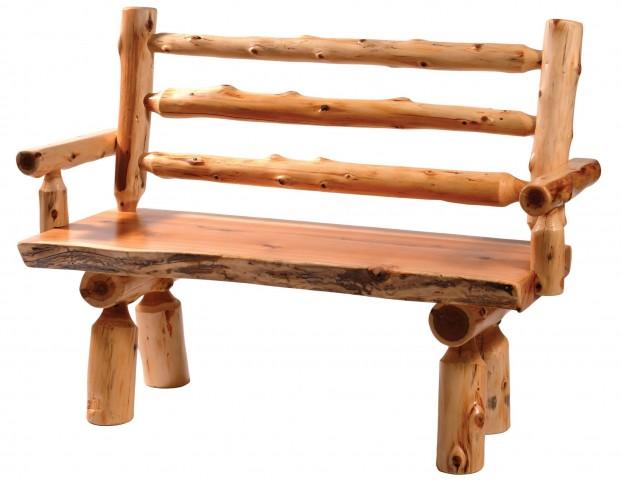 """Cedar 72"""" Back & Armrests Log Bench"""