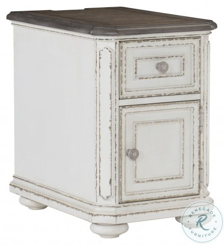 Willowick Antique White And Brown Cherry Chairside Table
