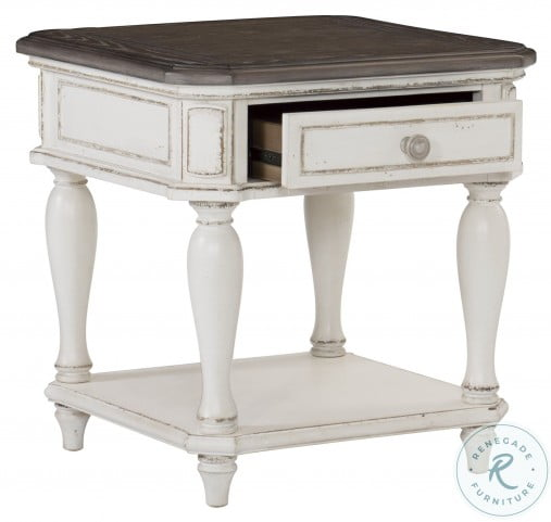 Willowick Antique White And Brown Cherry End Table