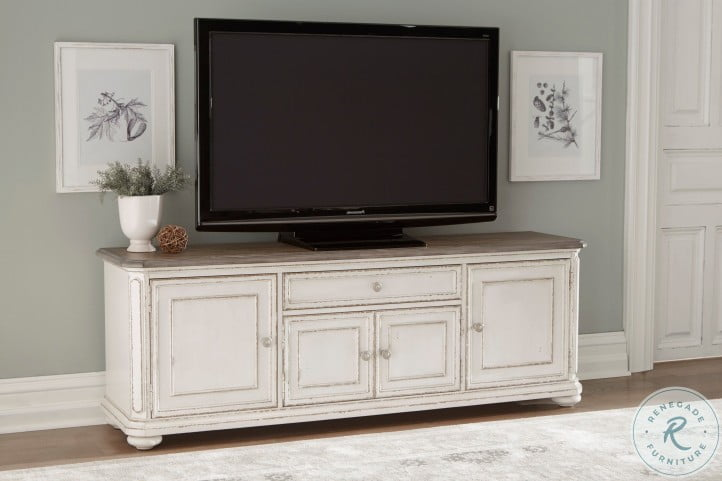 Willowick Antique White And Brown Cherry TV Stand