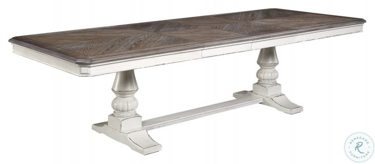 Willowick Antique White And Brown Cherry Extendable Dining Table