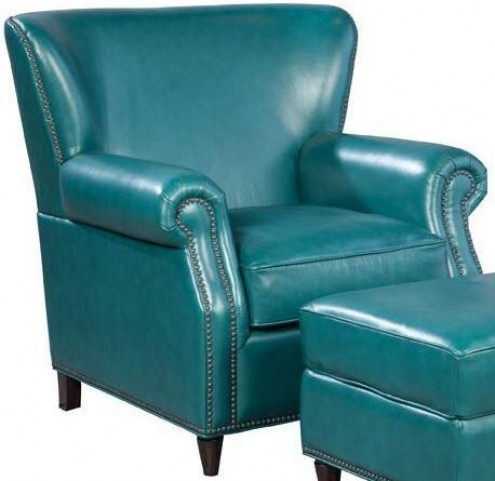 Easton Vintage Peacock Leather Chair