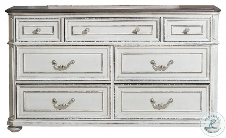 Willowick Antique White And Brown Cherry Dresser