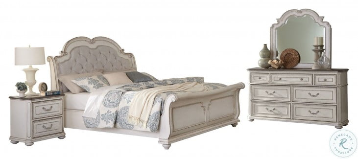 Willowick Antique White Upholstered Sleigh Bedroom Set