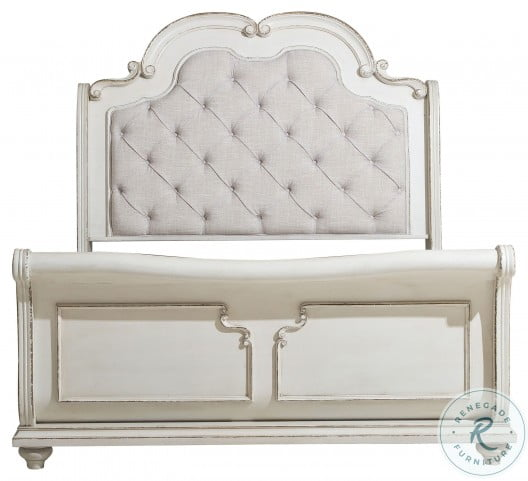 Willowick Antique White Cal. King Upholstered Sleigh Bed