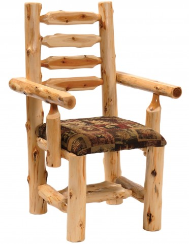 Cedar Upholstered Log Arm Chair