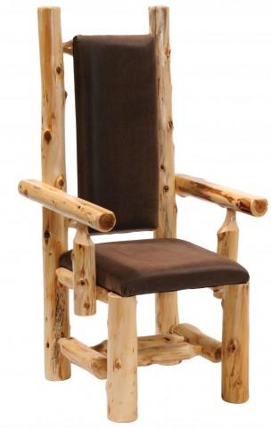 Cedar Upholstered High Back Log Arm Chair