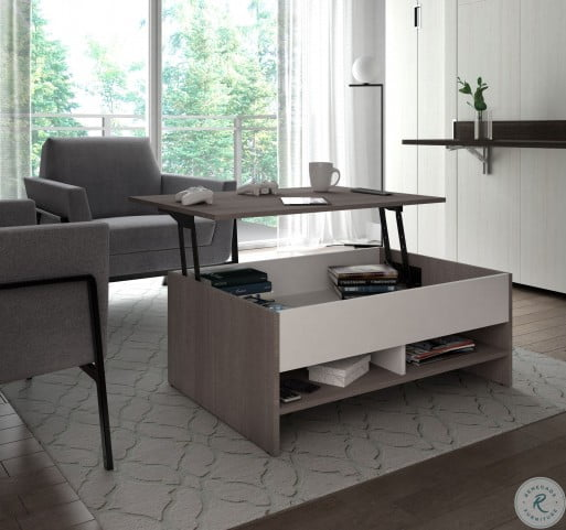 Small Space Bark Gray And White 37 Lift Top Storage Coffee Table From Bestar Coleman Furniture