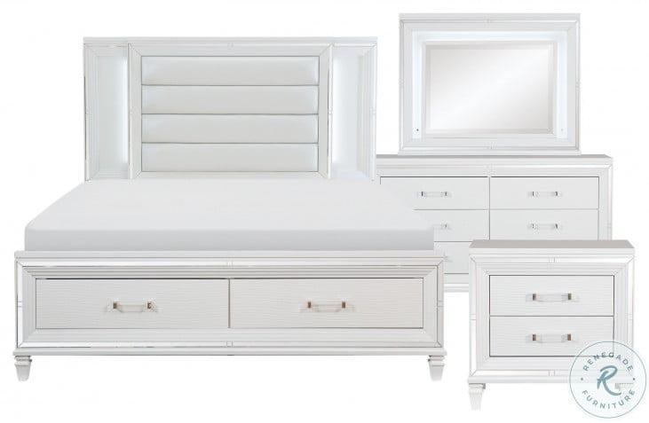 Tamsin White Metallic King Storage Platform Bed