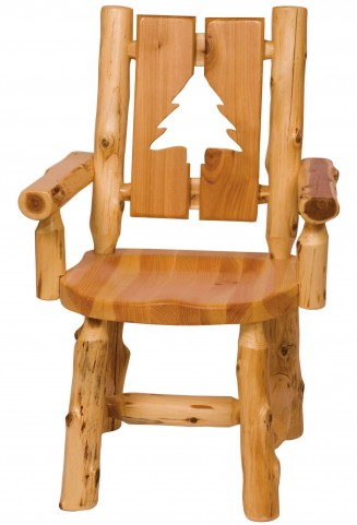 Cedar Cut-Out Pine Tree Log Arm Chair