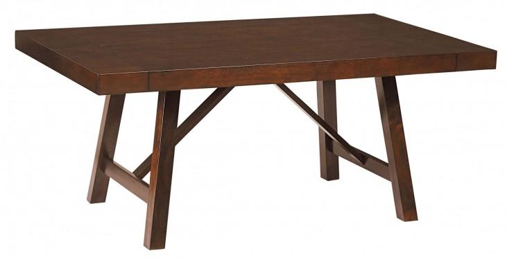 Omaha Burnished Saddle Brown Trestle Extendable Table