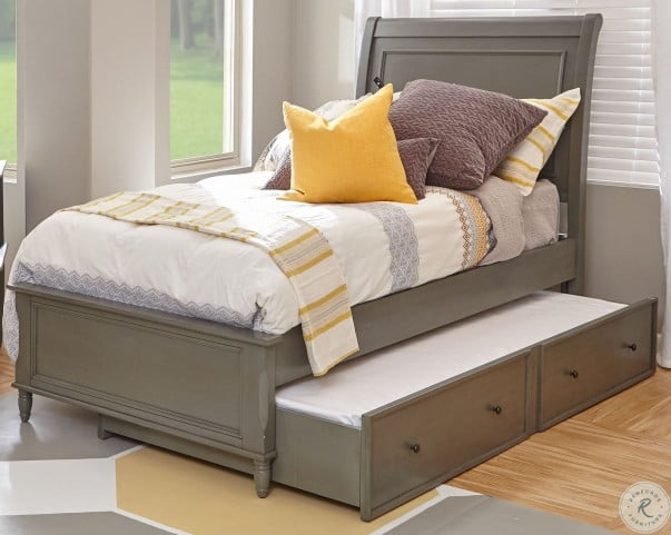 Avignon Grey Twin Sleigh Bed With Trundle Custom Avignon Bedroom Furniture