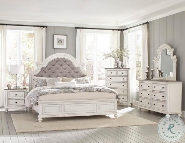 Baylesford Antique White Upholstered Panel Bedroom Set