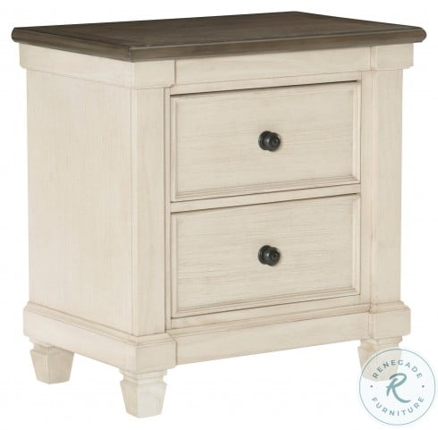Weaver Antique White And Rosy Brown Nightstand