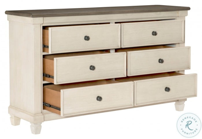 Weaver Antique White And Rosy Brown Dresser