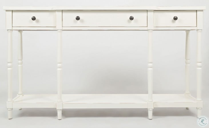 "Stately Home 60"" Antique White Console"