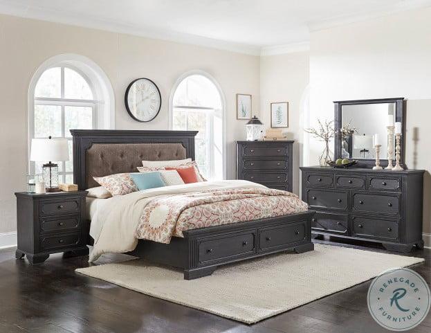 Bolingbrook Wire Brushed Charcoal Upholstered Storage Platform Bedroom Set