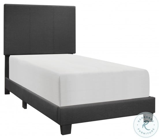 Nolens Black Twin Upholstered Panel Bed In A Box