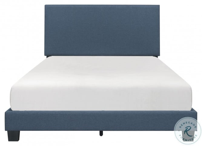 Nolens Blue King Upholstered Panel Bed In A Box