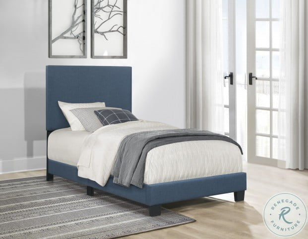 Nolens Blue Twin Upholstered Panel Bed In A Box