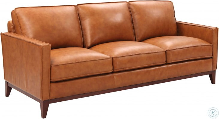 Georgetowne Newport Camel Leather Sofa