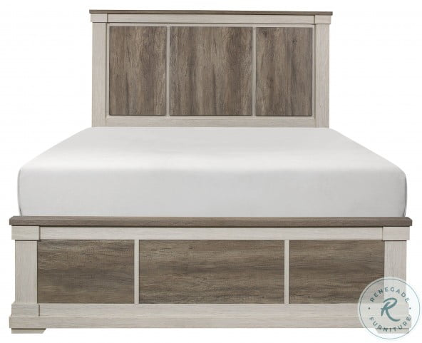 Arcadia White And Weathered Gray Cal. King Panel Bed