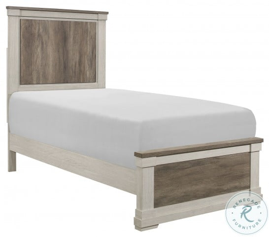 Arcadia White And Weathered Gray Twin Panel Bed