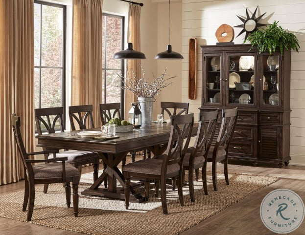 Homelegance Cardano Driftwood Charcoal Trestle Extendable Dining Room Set, Includes 1 x Cardano Dining Table & 2-Set Cardano Side Chair