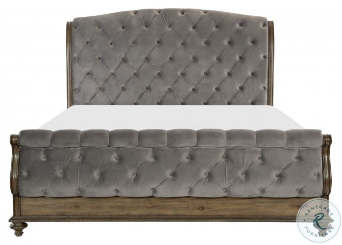Rachelle Weathered Pecan Cal. King Sleigh Bed