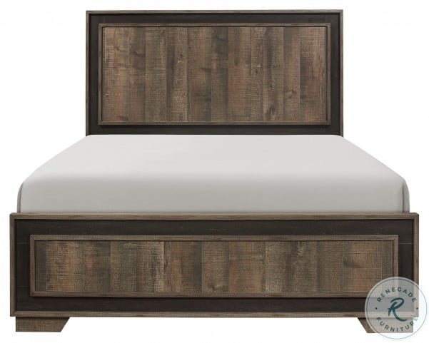 Ellendale Rustic Mahogany And Dark Ebony King Panel Bed