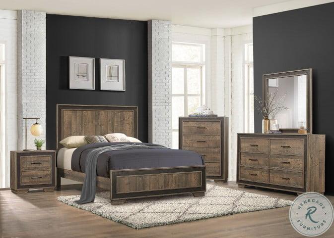 Ellendale Rustic Mahogany and Dark Ebony Panel Bedroom Set