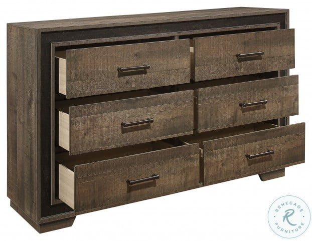 Ellendale Rustic Mahogany And Dark Ebony Dresser