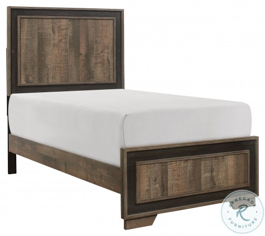 Ellendale Rustic Mahogany And Dark Ebony Twin Panel Bed