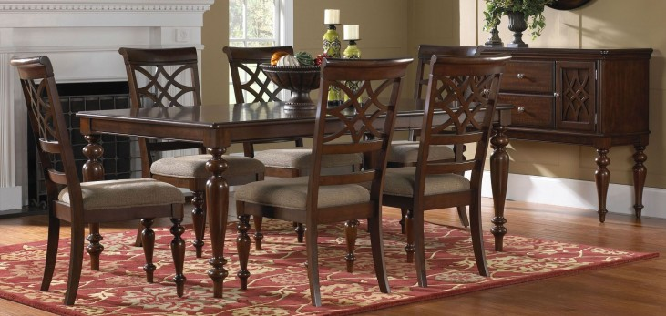 Woodmont Brown Cherry Extendable Dining Room Set