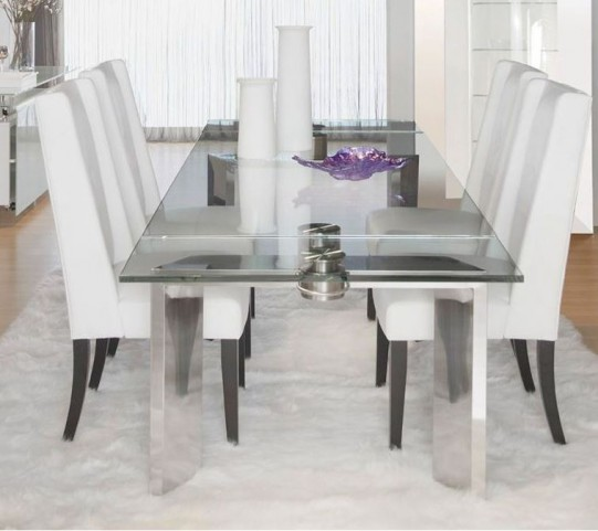 Ritz Mo Stainless Steel Rectangular Extendable Dining Room Set with Elements Cole White Dining Chairs