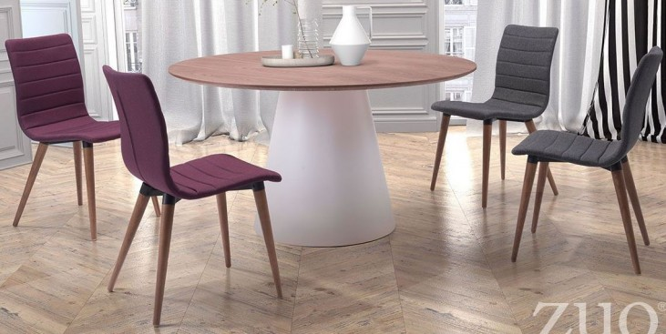 Query White & Walnut Round Dining Room Set