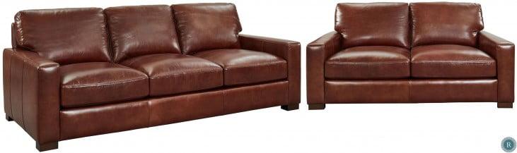Westport Randall Chestnut Leather Loveseat
