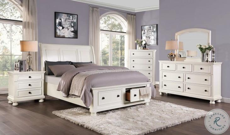Laurelin White Sleigh Storage 4 Piece Bedroom Set