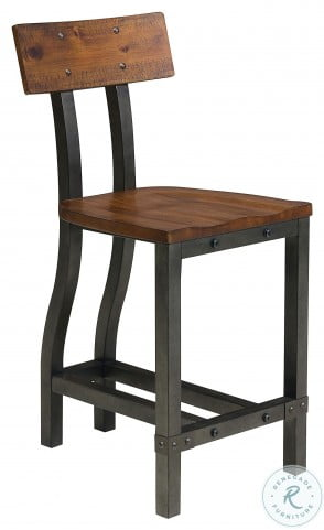 Holverson Rustic Brown And Gunmetal Counter Height Chair Set of 2