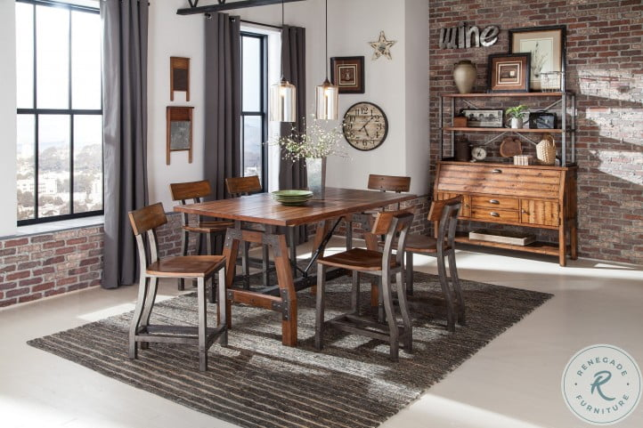 Holverson Rustic Brown And Gunmetal Counter Height Dining Room Set